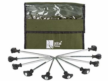 Zite Fishing T-Pegs Zelt-Heringe Angeln & Camping - 10 STK Massive Stahl-Erdnägel für Angelzelte Bivvy & Camping-Zelte - 1