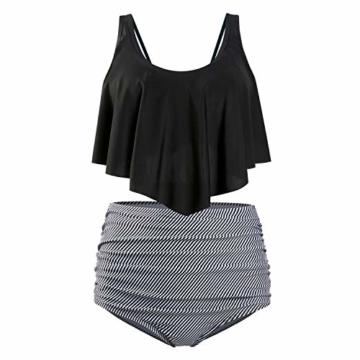 ZIYYOOHY Damen Bikini Set Push Up Volant Hohe Taille Tankini Set Bademode Badeanzug Große Größen (L, 4136Schwarz) - 4