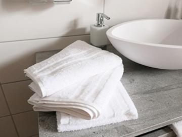 ZOLLNER 10er Set Handtücher, 50x100 cm, 100% Baumwolle, 450g/qm, weiß - 6