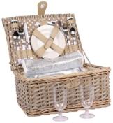 2 Personen Weiden Picknickkorb Picknickkoffer Set Besteck, Wein Gläser, Teller … - 1