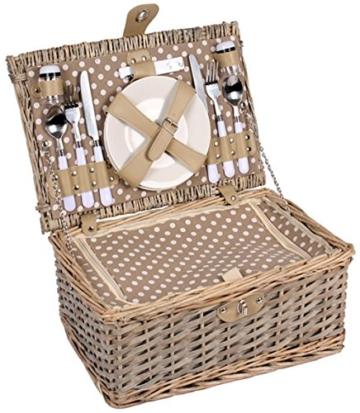 2 Personen Weiden Picknickkorb Picknickkoffer Set Besteck, Wein Gläser, Teller … - 2