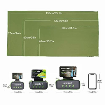 4Monster Mikrofaser Handtücher in 8 Farben, Saugfähiges Sporthandtuch Ultra Leicht, Schnelltrocknendes Reisehandtuch für Fitness Sport Sauna Yoga Reisen - 3