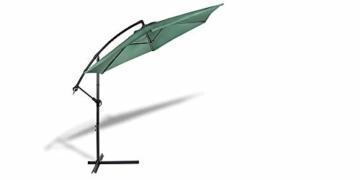 909 OUTDOOR Grüner Ampelschirm für Terrasse, Balkon und Garten Ø 300 cm, Verstellbarer Sonnenschirm mit Fußkreuz und Kurbel, Gartenschirm aus Polyester & Stahl - 1