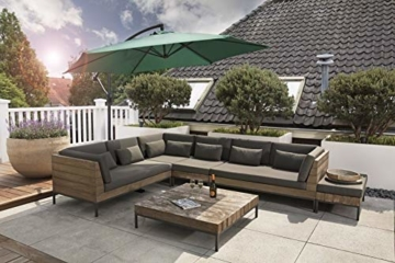 909 OUTDOOR Grüner Ampelschirm für Terrasse, Balkon und Garten Ø 300 cm, Verstellbarer Sonnenschirm mit Fußkreuz und Kurbel, Gartenschirm aus Polyester & Stahl - 5