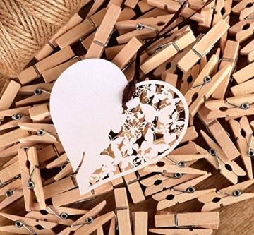 ABSOFINE Garten Kordel mit 100 Wäscheklammern Holz 3,5cm Bastelschnur Jute Kordel 100M Natur Juteschnur Clothespins Verpackung Gastgeschenk - 2