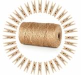 ABSOFINE Garten Kordel mit 100 Wäscheklammern Holz 3,5cm Bastelschnur Jute Kordel 100M Natur Juteschnur Clothespins Verpackung Gastgeschenk - 1