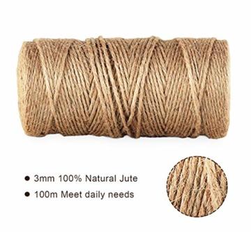 ABSOFINE Garten Kordel mit 100 Wäscheklammern Holz 3,5cm Bastelschnur Jute Kordel 100M Natur Juteschnur Clothespins Verpackung Gastgeschenk - 4