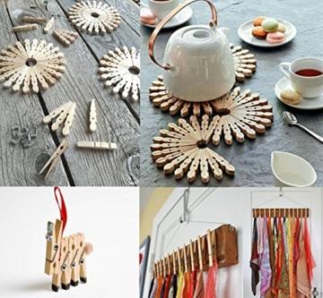 ABSOFINE Garten Kordel mit 100 Wäscheklammern Holz 3,5cm Bastelschnur Jute Kordel 100M Natur Juteschnur Clothespins Verpackung Gastgeschenk - 9