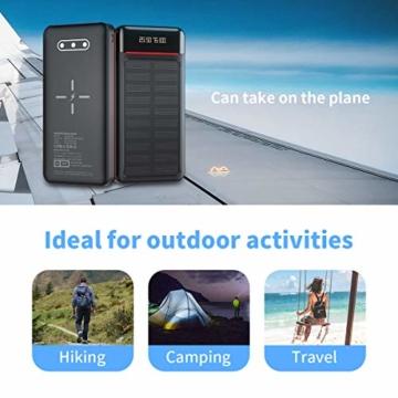 Aikove Wireless Powerbank 26800mAh Solar Externe Handy Akku mit (USB C&Micro) Zwei 2,4A Eingänge und DREI 2,4A Ausgänge, LCD Hohe Kapazitäts Solarladegeräte für Das Tablettes, Smartphones … - 2