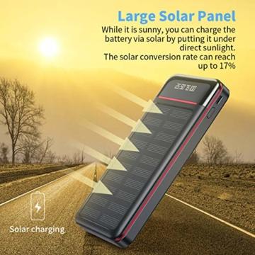 Aikove Wireless Powerbank 26800mAh Solar Externe Handy Akku mit (USB C&Micro) Zwei 2,4A Eingänge und DREI 2,4A Ausgänge, LCD Hohe Kapazitäts Solarladegeräte für Das Tablettes, Smartphones … - 4