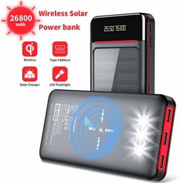 Aikove Wireless Powerbank 26800mAh Solar Externe Handy Akku mit (USB C&Micro) Zwei 2,4A Eingänge und DREI 2,4A Ausgänge, LCD Hohe Kapazitäts Solarladegeräte für Das Tablettes, Smartphones … - 1