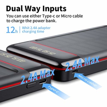 Aikove Wireless Powerbank 26800mAh Solar Externe Handy Akku mit (USB C&Micro) Zwei 2,4A Eingänge und DREI 2,4A Ausgänge, LCD Hohe Kapazitäts Solarladegeräte für Das Tablettes, Smartphones … - 5