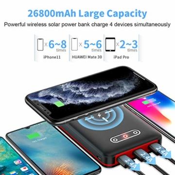 Aikove Wireless Powerbank 26800mAh Solar Externe Handy Akku mit (USB C&Micro) Zwei 2,4A Eingänge und DREI 2,4A Ausgänge, LCD Hohe Kapazitäts Solarladegeräte für Das Tablettes, Smartphones … - 8