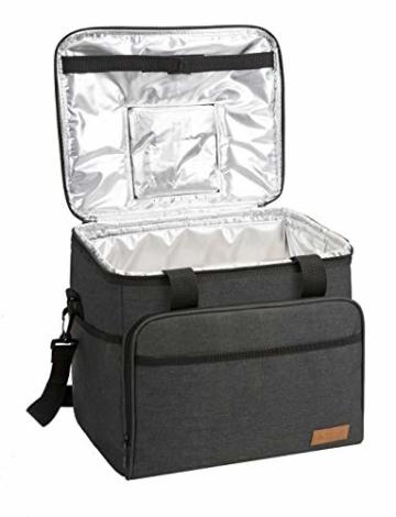 ALLCAMP 30L Kühltasche Faltbare Picknicktasche Thermo Tasche Isoliertasche Kühlkorb Kühlbox isolierbox mit 2 kühlakkus Schwarz - 2