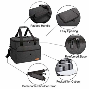 ALLCAMP 30L Kühltasche Faltbare Picknicktasche Thermo Tasche Isoliertasche Kühlkorb Kühlbox isolierbox mit 2 kühlakkus Schwarz - 3