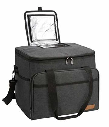 ALLCAMP 30L Kühltasche Faltbare Picknicktasche Thermo Tasche Isoliertasche Kühlkorb Kühlbox isolierbox mit 2 kühlakkus Schwarz - 5