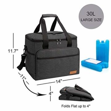 ALLCAMP 30L Kühltasche Faltbare Picknicktasche Thermo Tasche Isoliertasche Kühlkorb Kühlbox isolierbox mit 2 kühlakkus Schwarz - 7