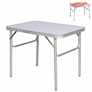 Alu Campingtisch Klapptisch 75 x 55cm nur 3.2 Kg. Gartentisch Camping Tisch Reisetisch Abstelltisch Silber/Weiß Smartweb - 2
