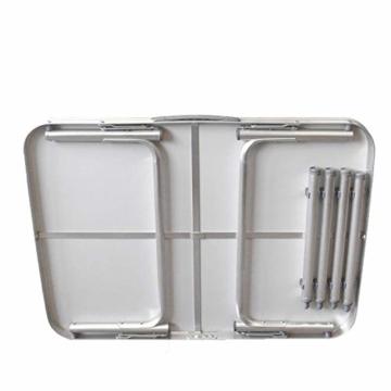 Alu Campingtisch Klapptisch 75 x 55cm nur 3.2 Kg. Gartentisch Camping Tisch Reisetisch Abstelltisch Silber/Weiß Smartweb - 3