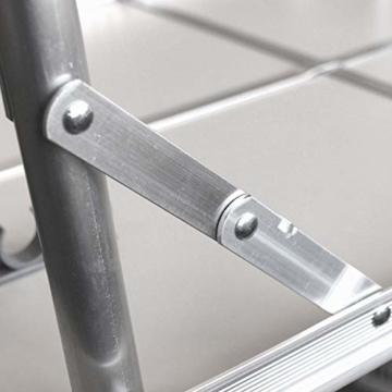 Alu Campingtisch Klapptisch 75 x 55cm nur 3.2 Kg. Gartentisch Camping Tisch Reisetisch Abstelltisch Silber/Weiß Smartweb - 4