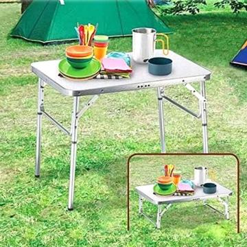 Alu Campingtisch Klapptisch 75 x 55cm nur 3.2 Kg. Gartentisch Camping Tisch Reisetisch Abstelltisch Silber/Weiß Smartweb - 1