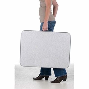 Alu Campingtisch Klapptisch 75 x 55cm nur 3.2 Kg. Gartentisch Camping Tisch Reisetisch Abstelltisch Silber/Weiß Smartweb - 5