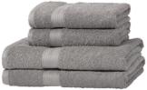 AmazonBasics Handtuch-Set, ausbleichsicher, 2 Badetücher und 2 Handtücher, Grau, 100% Baumwolle 500g/m² - 1
