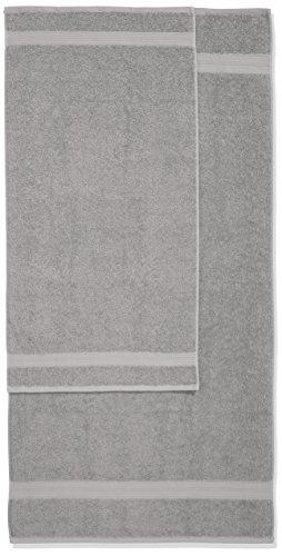 AmazonBasics Handtuch-Set, ausbleichsicher, 2 Badetücher und 2 Handtücher, Grau, 100% Baumwolle 500g/m² - 3