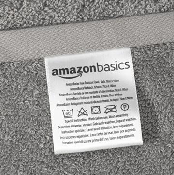 AmazonBasics Handtuch-Set, ausbleichsicher, 2 Badetücher und 2 Handtücher, Grau, 100% Baumwolle 500g/m² - 7