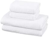AmazonBasics - Handtuch-Set, schnelltrocknend, 2 Badetücher und 2 Handtücher - Weiß, 100% Baumwolle - 1
