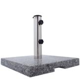 Anaterra Sonnenschirmständer 20kg für Garten oder Balkon, Schirmständer aus Granit und Edelstahl, eckig mit Griffmulden - 1