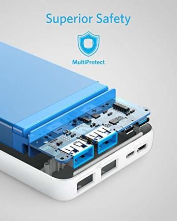 Anker PowerCore Essential 20000 Powerbank, 20000mAh externer Akku mit PowerIQ Technologie und USB-C Eingang, enorme Energiedichte, kompatibel mit iPhone, Samsung, iPad und mehr (Weiß) - 3