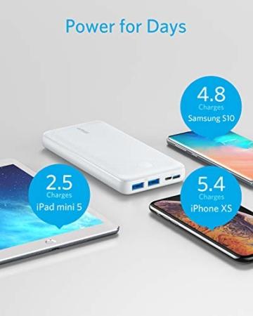 Anker PowerCore Essential 20000 Powerbank, 20000mAh externer Akku mit PowerIQ Technologie und USB-C Eingang, enorme Energiedichte, kompatibel mit iPhone, Samsung, iPad und mehr (Weiß) - 4