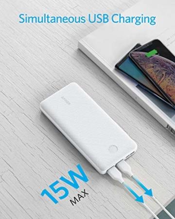 Anker PowerCore Essential 20000 Powerbank, 20000mAh externer Akku mit PowerIQ Technologie und USB-C Eingang, enorme Energiedichte, kompatibel mit iPhone, Samsung, iPad und mehr (Weiß) - 6