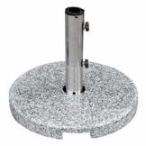anndora Sonnenschirmständer Granit rund 20kg Naturstein hellgrau poliert - 1