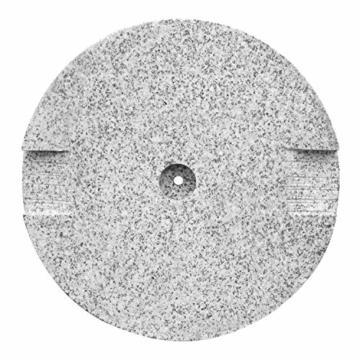 anndora Sonnenschirmständer Granit rund 20kg Naturstein hellgrau poliert - 4