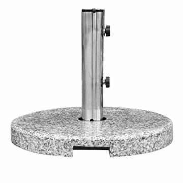 anndora Sonnenschirmständer Granit rund 20kg Naturstein hellgrau poliert - 6