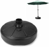 Aomili Sonnenschirmfuß Zelt Gewichte,Sonnenschirmständer Die Wasser aufnehmen kann,Balkonschirmständer aus Kunststoff füllbar mit 30KG Sand für Alle Outdoor-Sonnenschirme (Schwarz) - 1