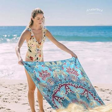 AtailorBird Strandtücher Tragbar Sand Proof Ultraleicht und Schnelltrocknend Ideal als Strandtuch, Reisetuch, Saunatuch, Badetuch,Picknick 150x75cm Rechteckig Bunt - 4