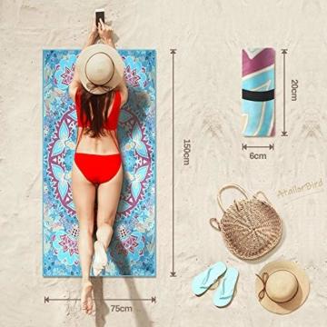 AtailorBird Strandtücher Tragbar Sand Proof Ultraleicht und Schnelltrocknend Ideal als Strandtuch, Reisetuch, Saunatuch, Badetuch,Picknick 150x75cm Rechteckig Bunt - 5