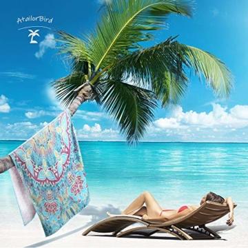 AtailorBird Strandtücher Tragbar Sand Proof Ultraleicht und Schnelltrocknend Ideal als Strandtuch, Reisetuch, Saunatuch, Badetuch,Picknick 150x75cm Rechteckig Bunt - 7