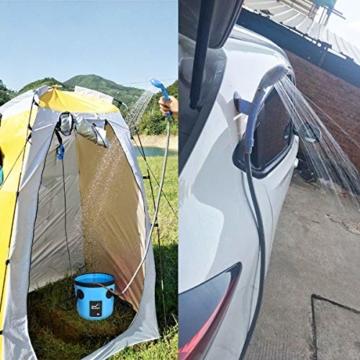 AUTOPkio 12V Outdoor Dusche, Camping Dusche Bewegliche Dusche-faltender Eimer-Installationssatz im Freien, kampierende Duschekopf-Steck für Auto, Reise, Garten, Strand Dusche (Blau) - 5