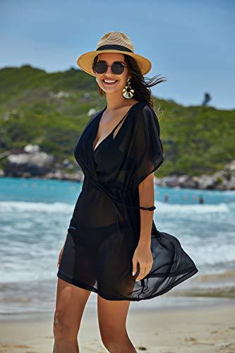 Avidlove Bikini Cover up Boho Chiffon Tunika Strandponcho Sommer Kurze Bat Ärmel Kleid Bluse Swimwear Tief V Ausschnitt Strandkleid, Schwarz, M - 3