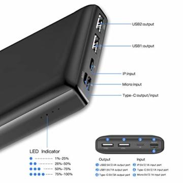 Baseus Power Bank Externer Akku 30000 mAh, USB C Schnelles Aufladen Tragbares Ladegerät für iPhone, iPad, Mac, Kompatibel mit Samsung, Huawei und mehr - 4