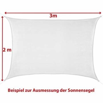 BB Sport Sonnensegel 2m x 2.5m Kokos HDPE Rechteckig UV Schutz Garten Terrasse Camping Sonnenschutz Windschutz Schattenspender - 6