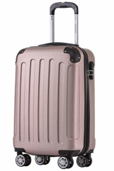 BEIBYE Hartschalen-Koffer Trolley Rollkoffer Reisekoffer Handgepäck 4 Rollen (M-L-XL-Set) (Rosa Gold, M) - 1