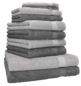 Betz 10-teiliges Handtuch-Set, Premium-Qualität, 100% Baumwolle, 2xBadetücher, 4xHandtücher, 2xGästetücher, 2xWaschlappen, Anthrazitgrau und Silbergrau - 1