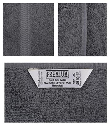 Betz 10-teiliges Handtuch-Set, Premium-Qualität, 100% Baumwolle, 2xBadetücher, 4xHandtücher, 2xGästetücher, 2xWaschlappen, Anthrazitgrau und Silbergrau - 3