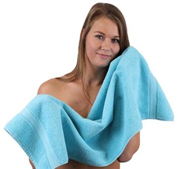 Betz 10-TLG. Handtuch-Set Premium 100% Baumwolle 2 Duschtücher 4 Handtücher 2 Gästetücher 2 Waschhandschuhe Farbe Türkis & Anthrazit Grau - 3