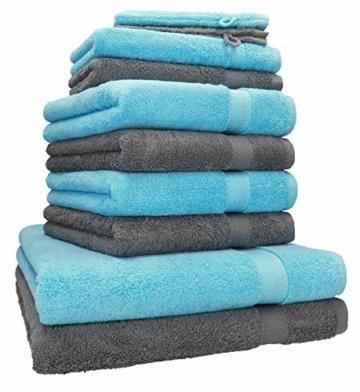 Betz 10-TLG. Handtuch-Set Premium 100% Baumwolle 2 Duschtücher 4 Handtücher 2 Gästetücher 2 Waschhandschuhe Farbe Türkis & Anthrazit Grau - 1